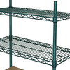 "NSF 72"" Extra Long Epoxy Green Industrial Heavy Gauge Wire Shelf with Ledge For Cold Room"