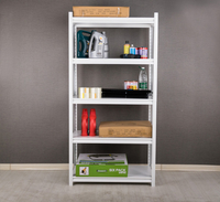 White 5 Shelves Riveted Steel Shelving